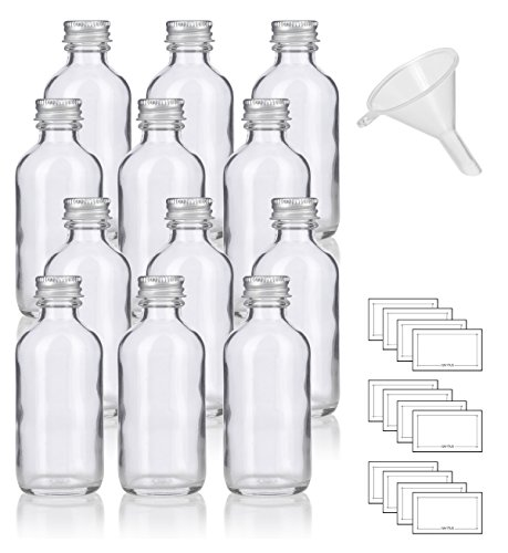 2 oz Clear Glass Boston Round Bottles with Silver Metal Screw On Caps (12 Pack) + Funnel and Labels Clear Glass Screw Cap