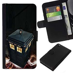 // PHONE CASE GIFT // Moda Estuche Funda de Cuero Billetera Tarjeta de crédito dinero bolsa Cubierta de proteccion Caso HTC DESIRE 816 / Police Call Box /