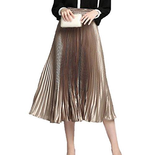 Mujeres De Cintura Elástica Corta Plisada Una Falda De Línea Gold