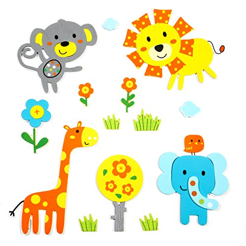 Skygate 14 Count Premium Safari Animal Wall Stickers | 3D Foam | Wall Decal Stickers Without Leaving a Sticky Residue ()