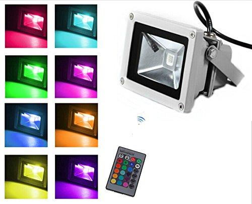 Trendmart 10w Led RGB Flood Light Outdoor Lighting Garden Light & 24key Remote Control (Input Voltage; Dc /AC12 V)