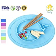 Suily Babies Highchair Feeding Tray Round Silicone Suction Placemat for Children, Kids, Toddlers,Kitchen Dining Table with Built in Plate and Bowl,Little Whale (Blue)