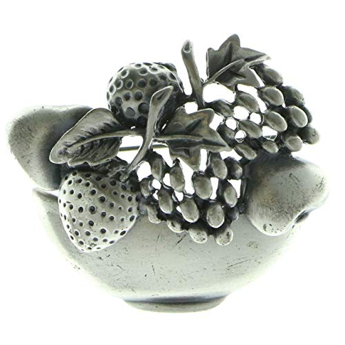 Mi Amore Fruit Bowl Brooch-Pin Silver-Tone