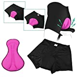 Zodaca Breathable Women's 3D Padded Bicycle Cycling Underwear Shorts, Black/Pink