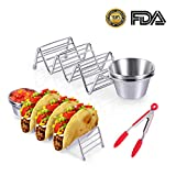 2 Pcs Taco Holders 304 Stainless Steel -Mexican pancake rack Tray for 3 Soft or Hard Taco Shells[Salsa Guacamole Cup&tongs],Menghao