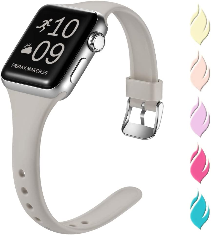 Henva Fashionable Band Compatible with iWatch 44mm 42mm, Waterproof Soft Band Compatible for Apple Watch SE Series 6/5/4/3/2/1, Slate Gray, S/M