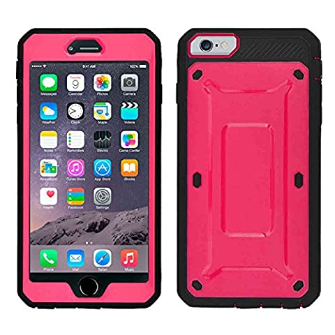 Casbay Apple Phone Case Shock Proof Water Impact Resist Dual Layer Full-Body Protective with Front Cover and Built-in Screen Protector Phone Shell for iPhone 6/6s Plus Pink