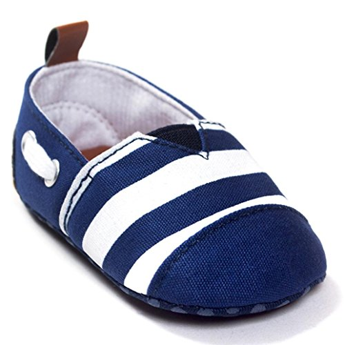 YJYdada Baby Toddlers Infants Soft Sole First Walker Shoes Canvas Stripe Crib Shoes (11(0~6months))