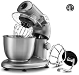 : Gourmia EP600 6-Quart, Planetary Action Stand Mixer with Stainless Steel Bowl (Silver)- 650 Watts ETL rated 1000 Watts Maximum- Includes Free Recipe Book - 110/120V
