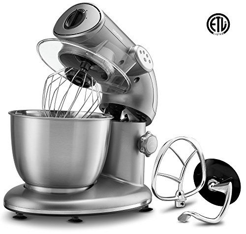 Gourmia EP600 6-Quart, Planetary Action Stand Mixer with Stainless Steel Bowl (Silver)- 650 Watts ETL rated 1000 Watts Maximum- Includes Free Recipe Book - 110/120V