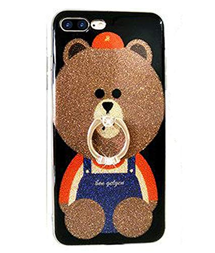 UnnFiko iPhone 6 Plus Glitter Case, 3D Teddy Bear Brown iPhone 6s Plus Bling Cute Soft Silicone Rubber Protective Case for Girls Finger Ring Stand (Ring Bear 1)