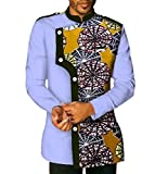 Doufine Men Batik African Print Stand Collar Oversized Tops Casual Shirt Four S