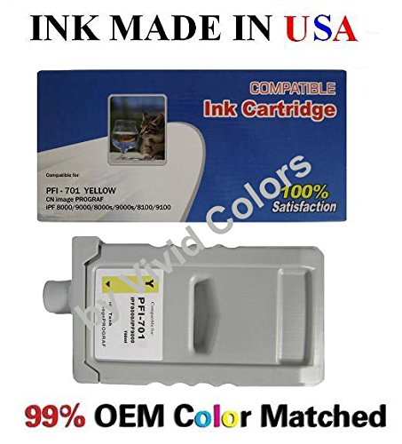 (PFI-701Y New compatible ink cartridge for Canon ipf8000/9000-Yellow)