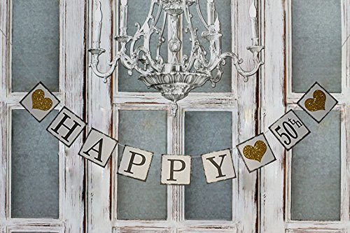 Vintage Happy 50th Birthday Banner Wedding Anniversary Decorations