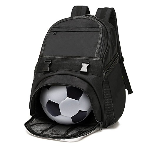Lucky Gourd Waterproof Oxford Soccer Backpack with Independent Ball Holder Compartment,Black