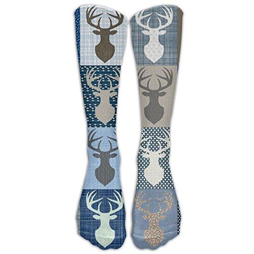 Buffalo Plaid Moose Spandex Knee Socks Fun Smooth Volleyball Compression Socks (Halloween Beards Canada)