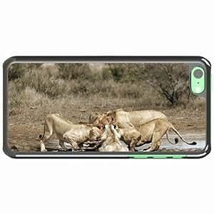 iPhone 5C Black Hardshell Case lions carcass zebra predators Desin Images Protector Back Cover
