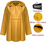 GUANYY Women's Waterproof Raincoat Outdoor Hooded Lightweight Windbreaker Jacket(Yellow,X-Large)