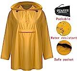 GUANYY Women's Waterproof Raincoat Outdoor Hooded Lightweight Windbreaker Jacket(Yellow,X-Large)
