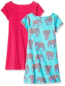 Amazon Brand - Spotted Zebra Girls' 2-Pack Knit Short-Sleeve A-Line T-Shirt Dresses
