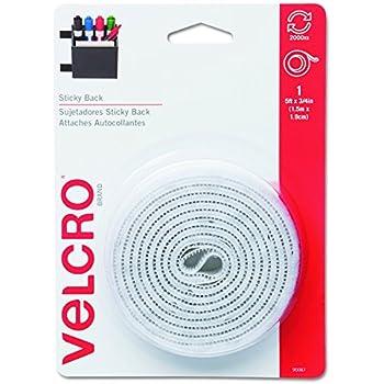 "Velcro 90087 Sticky-Back Hook & Loop Fastener Tape with Dispenser, 3/4"" x 5ft Roll, White"