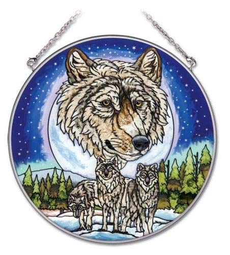 Stained Glass Suncatcher Wolf Pack Wolves 6.5