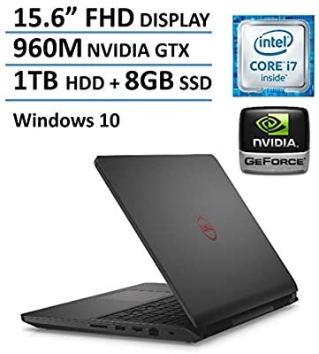 "2016 Newest Dell Inspiron 7559 15.6"" FHD Gaming Laptop, 6th Gen Intel Quad Core i7-6700HQ up to 3.5GHz, NVIDIA GeForce GTX 960M 4GB GDDR5 VRAM, 8GB Memory, 1TB HDD+8GB SSD, Backlit Keyboard, Win 10"
