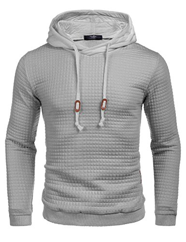 Zuckerfan Men's Hipster Gym Long Sleeve Drawstring Hooded Plaid Jacquard Pullover - Hipster Cheap