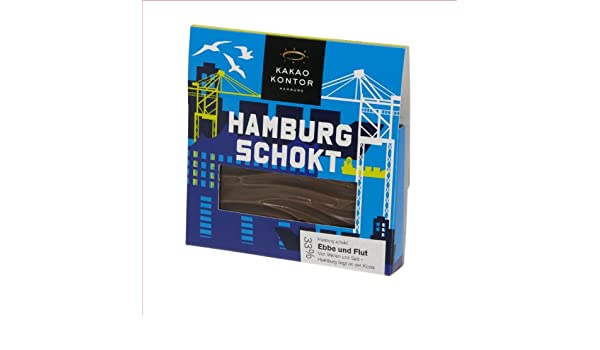Amazon.com : Kakao Kontor Hamburg - Schokolade - Hamburg schokt - Ebbe und Flut - 75g : Grocery & Gourmet Food