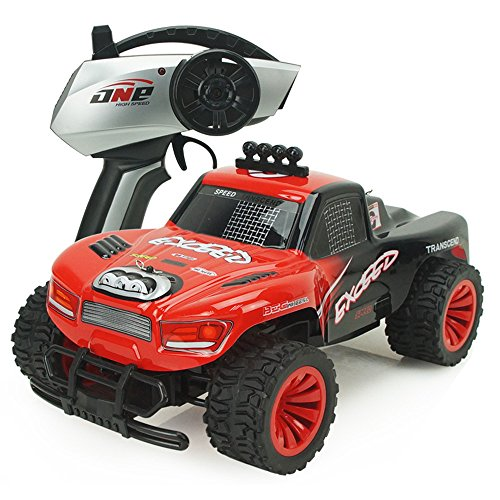 AHAHOO Color RC Cars 1:16 Scale 2.4Ghz 15MPH+ High Speed Radio Remote Control Monster Trucks 2WD Fast Electric Hobby Vehicle with LED Light and Sound, C, Red (Truck Sound Monster)