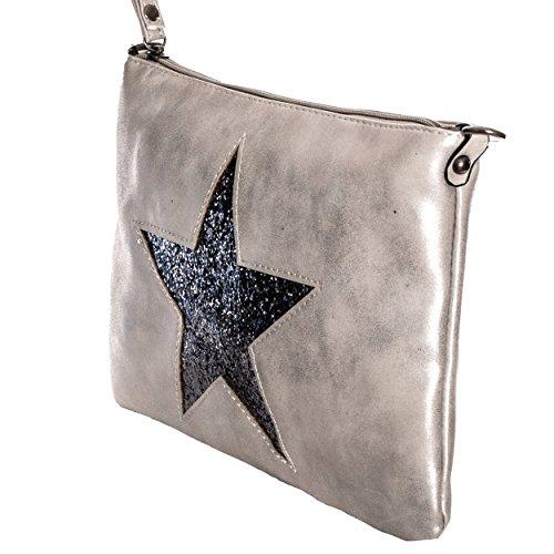 avec bandoulière cut paillettes Argenté étoile Gris Femmes LOOK tpusgk bandoulière Sac vintage métallique out Gadzo en Sac 03 Petit Xt80q0