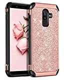 BENTOBEN Case for Samsung J8 2019, 2 in 1 Slim Glitter Bing Hybrid Hard PC Soft Rubber Heavy Duty Bumper Shockproof Full Body Protective Phone Cover for Samsung Galaxy J8 2019, Rose Gold