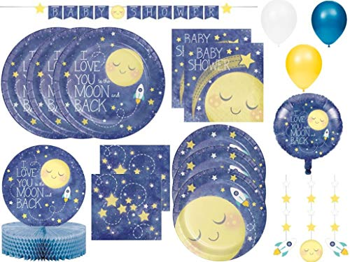 Love you to the Moon and Back Stars Baby Shower Party Supplies Pack for 24