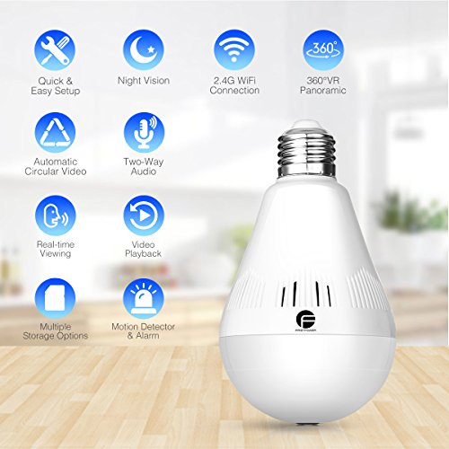 Wireless Security Bulb Camera, FirstPower 960P Home Security Surveillance Camera 360 Panoramic IP Camera with Night Vision Two Way Talking Motion Detection for Android IOS Phone by FirstPower (Image #1)