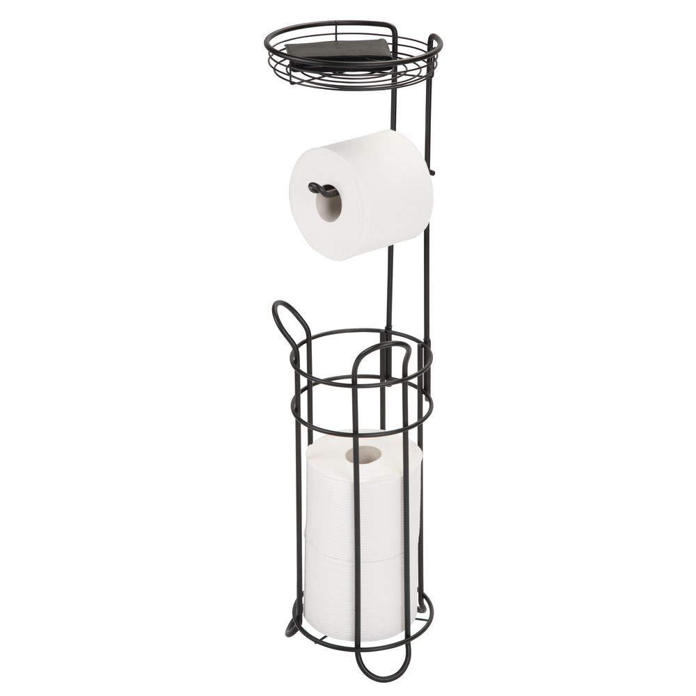 mDesign support de papier toilette sur pied sans per/çage couleur bronze d/érouleur de papier WC pour quatre rouleaux avec support porte-rouleaux d/éco toilette pratique pour salle de bain