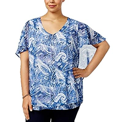 P. NY Collection Women's Blue Paisley Print Cape-Sleeve Mesh Blouse Top 3X