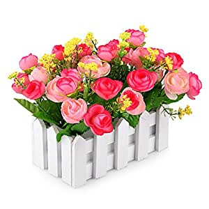 Louis Garden Artificial Flowers Fake Rose in Picket Fence Pot Pack - Mini Potted Plant (Pink)