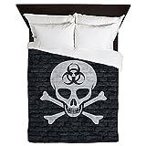 CafePress - Skull Crossbones (Brick Wall) - Queen Duvet Cover, Printed Comforter Cover, Unique Bedding, Microfiber