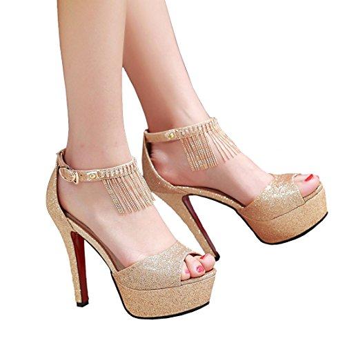 Aiyoumei Kvinner Ankel Stropp Glitter Titte Toe Stiletto Høy Hæl Plattform Sandaler Ed Spenne Og Rhinstone Gull