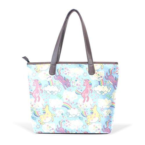 Coosun Unicorns Handle Large Bag Leather Shoulder Tote Bag Hand Pu L (33x45x13) Cm Multicolor # 001