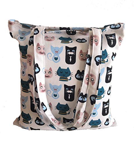 (Canvas Tote Carrying Bag for Book Lovers, Readers, and Bibliophiles, Travel bag, shopping bag, Reusable Grocery Bags, Women's Shoulder Handbags (Bag-cartoon-cat-blue+white))