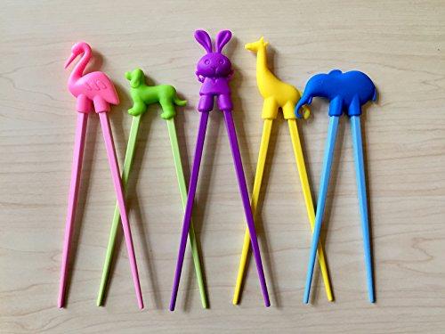Everyday Delights Animal Training Chopstick Utensil Set / Chop Sticks (Rabbit, Flamingo, Giraffe, Dog & Elephant) for Children, Kids, Teens, Adults, 5 pairs - Cute, Eco-friendly, Reusable, Durable