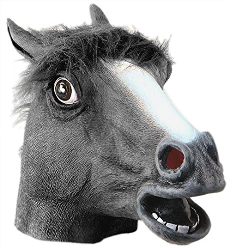Horror Scary black Horse Head Mask for Halloween Cosplay Costume Party