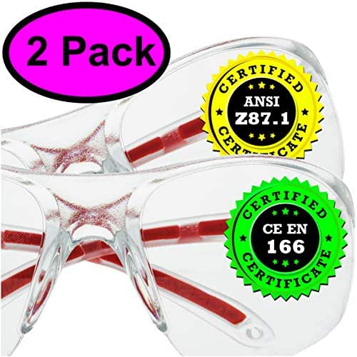Clear Safety Glasses Eye Protection - 2 Pack - Comfort Eyewear with our SuperLite and SuperClear Lens Technology