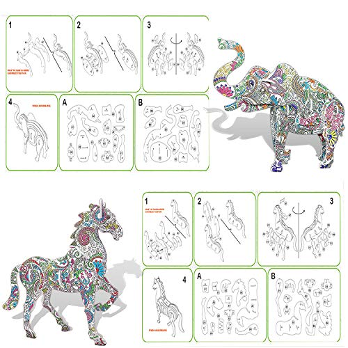 3D Coloring Puzzle Set,10 Pack Puzzles with 48 Pen Markers, Art Coloring Painting 3D Puzzle for Kids Age 7 8 9 10 11 12…