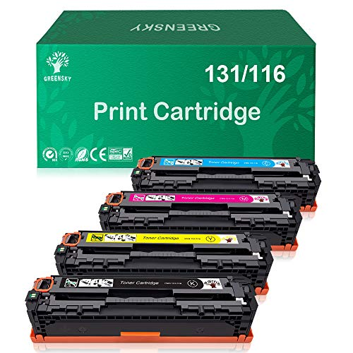 GREENSKY Compatible Toner Cartridges Replacement for HP 131A 131X CF210A Laserjet Pro 200 Color M251nw for Canon 131 MF624Cw MF628Cw (Black, Cyan, Yellow, Magenta, 4-Pack)