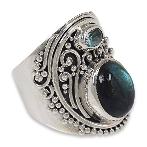 NOVICA Labradorite and Blue Topaz .925 Sterling Silver Handcrafted Ring