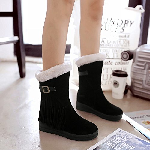 Mee Shoes Womens Inside-heel Nubuck Tassles Short Boots Black htgcaTVg