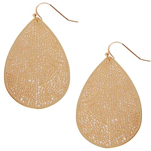 Humble Chic Leaf Dangle Earrings - Statement Filigree Dangling Lightweight Boho Vintage-Style Drops, Gold-Tone, Metallic