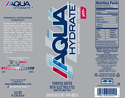 AQUAhydrate Electrolyte Enhanced Water Ph9+, 33.8  Fl. Oz (Pack of 12) by AQUAhydrate (Image #1)